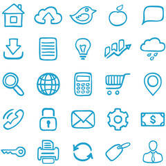 Hand-drawn icons for design.