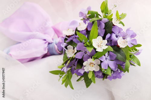 bouquet of violets and apricot