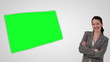 Animation of smiling businesswoman presenting a green screen