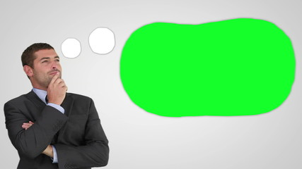 Animation of a thoughtful businessman with green thought bubble