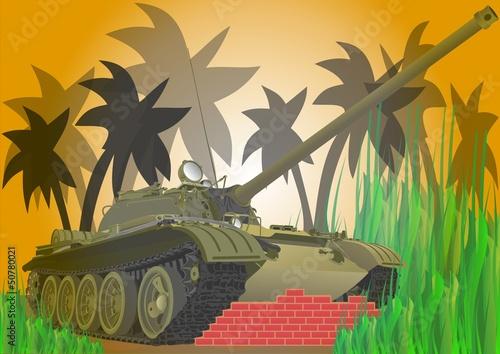 Foto Spatwand Militair Векторный танк