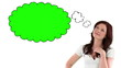 Woman with chroma key thought bubble