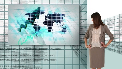 Businesswoman and man working with futuristic screen interfaces