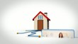 Animation with 3d house and video of woman cleaning