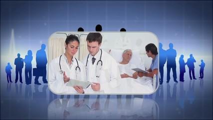 Montage of doctors working with elderly patients