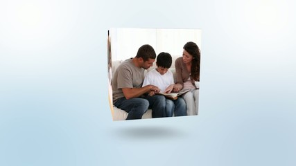 Montage of familys looking at photo albums