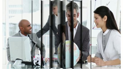 Montage of business people at work in the office