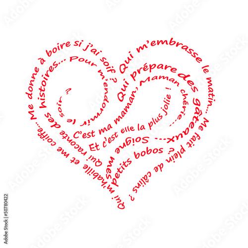 Po sie caligramme rouge pour une maman photo libre de - Cadeau fait main pour son amoureux ...
