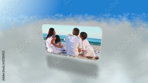 Montage of families on the beach