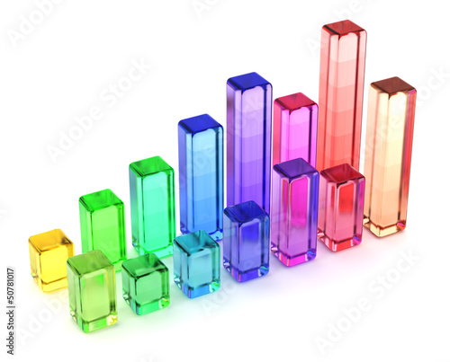 3d Glass bar chart isolated