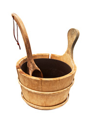 Wooden sauna bucket Isolated on a white background