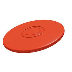 Red flying disc (3D render).