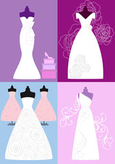 wedding dresses, bridal gowns, vector set