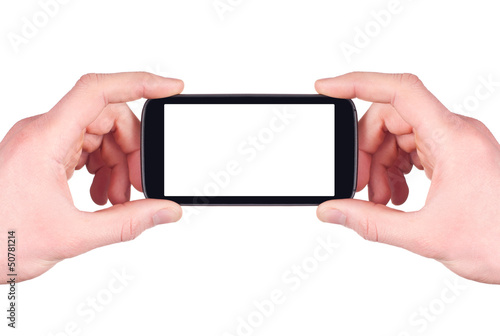 Taking photo with mobile smart phone isolated on white