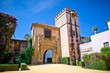 Gate to Real Alcazar Gardens in Seville, Spain.