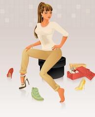 Beautiful Woman Shopping for Shoes
