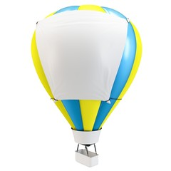 3d Hot air balloon with blank banner