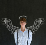 Business angel investor man with chalk wings and halo poster
