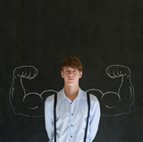 Man with chalk healthy strong arm muscles for success