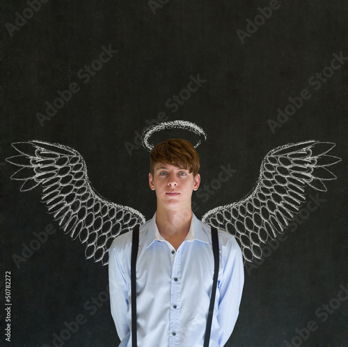 Business angel investor man with chalk wings and halo
