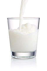 Pouring a Fresh Glass of Milk isolated on white background