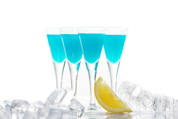 Party Shots with blue curacao