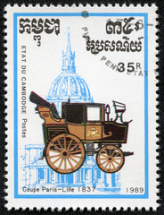 stamp printed in Cambodia shows coupe paris lille 1937