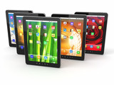 Group of digital tablet pc with different screen backgrounds