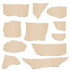 Sammlung - braune Papierfetzen