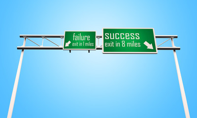failure success road sign