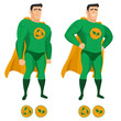 Recycle superhero in green uniform with a cape