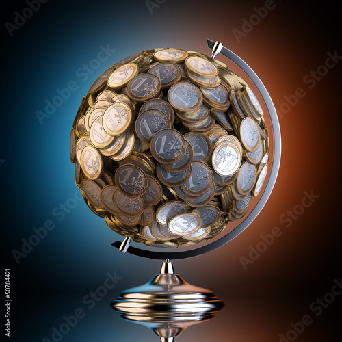 Desktop Globe Created out of Money (Black Studio 1 Euro Version)