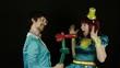 Clowns portray love