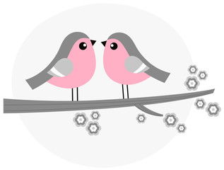 Cute bird couple on blossom branch - retro