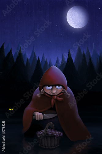 Little Red Riding Hood waits the wolf