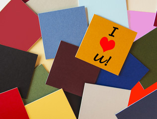 I Love You - business / office / post its - sign in letters.