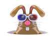 Chocolate bunny in a hole with 3d glasses