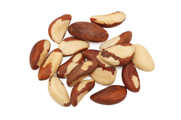 Brazil nuts on white background