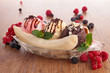 banana split and berries