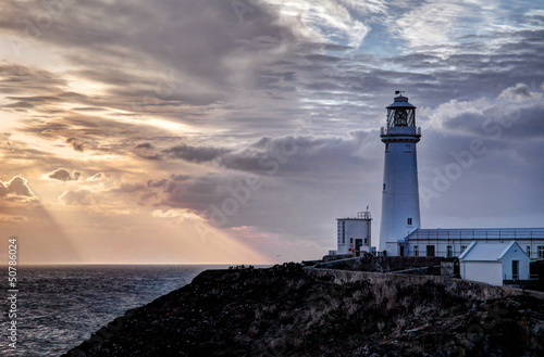 South Stack Lighthouse sunset Isle of Anglesey North wales UK