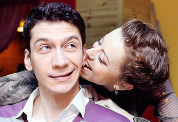 Woman Bites Man's Ear Funny Shot