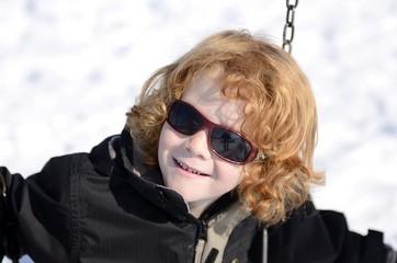 portrait garçon 5 ans, hiver