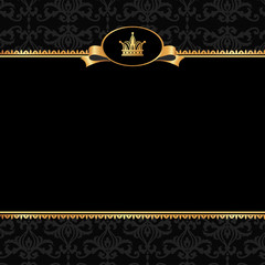 Vintage black damask background with frame of golden elements an