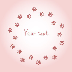 Cat or dog paw prints pink frame background, vector