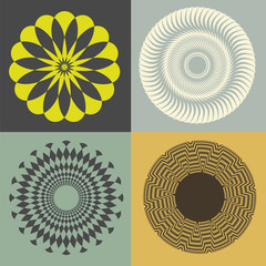 optical illusion floral vector collection