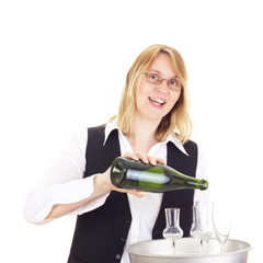 Waitress with dinner tray