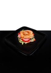 sandwich isolated on black and white background