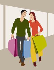 Attraktives junges Pärchen beim Einkaufen