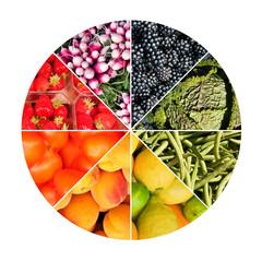 Arc en ciel de fruits et légumes en cercle
