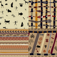 A set of patterns  primitive tribal painting